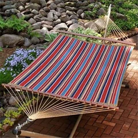 """82"""" x 55"""" Weather Resistant Red and White Reversible Quilted Double Hammock"""