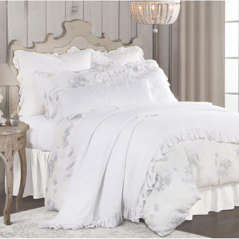 3 PC Rosaline Washed Linen Comforter Set, Queen