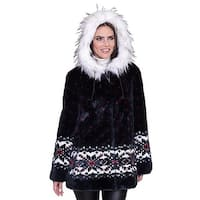 "DuMonde Black Mountain Ladies ""Snowflake"" Faux Fur Coat"