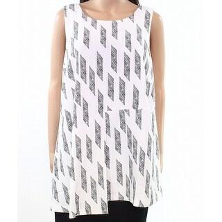 Alfani White Womens Size 14W Plus Printed Asymmetric Draped Blouse