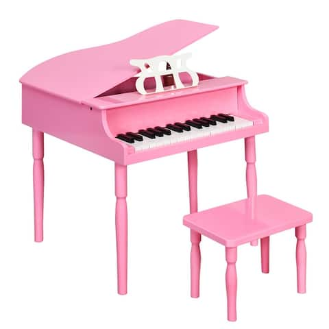 Costway 30-Key Classic Baby Grand Piano Toddler Toy Wood w/ Bench &