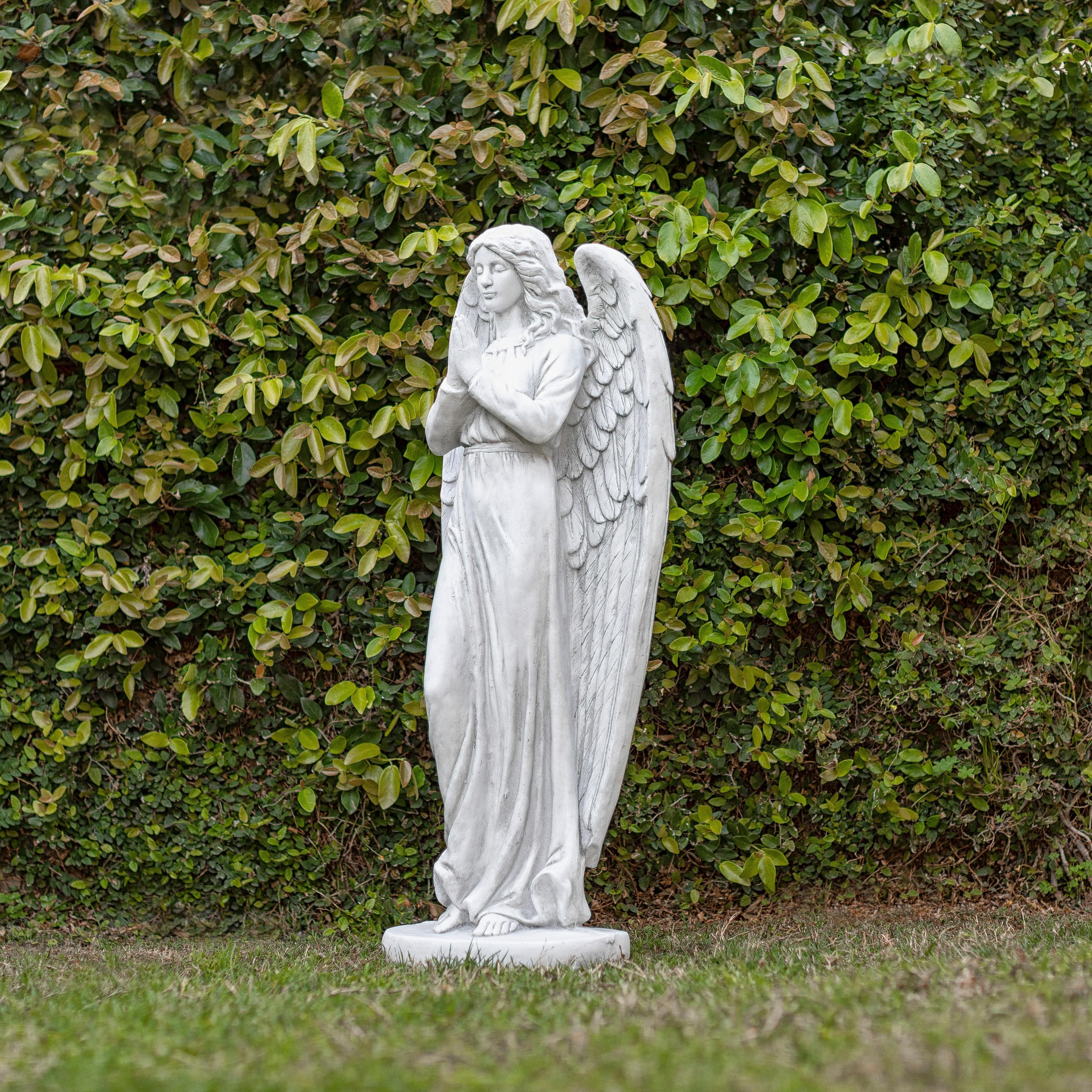 Antiqued Praying Metal Garden Angel Statue with Hooks Indoor Outdoor Art Decor