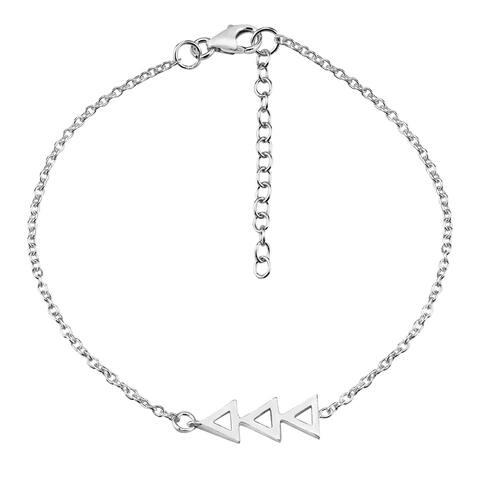 Handmade Stylish Trio of Linked Triangles Sterling Silver Chain Charm Chevron Bracelet (Thailand)