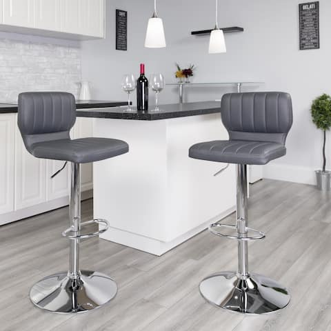 """Contemporary Vinyl Adjustable Height Barstool with Vertical Stitch Back - 16.5""""W x 19""""D x 34.5"""" - 43""""H"""