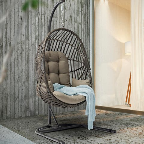Teresa Egg Chair with Stand - PE Rattan Swing Chair with Powder Coating Iron Frame, Dark Gray Cushion for Outdoor and Indoor