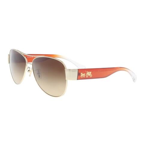 Coach HC7049 926713 Light Gold/ Cornalian Aviator Sunglasses - 58-14-135
