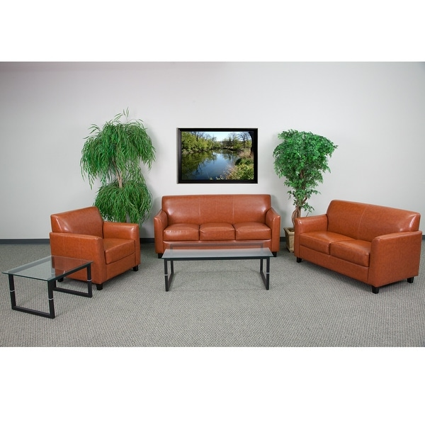 Radisson Office Leather Sofa Sets, Cognac w/Flared Arms