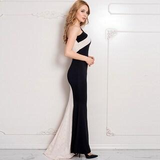 Lace Party Dresses Elegant Fashion One Shoulder Dress Ladies Unique Women Prom Dress - Black