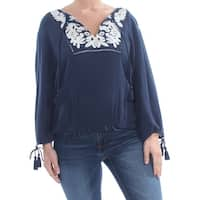LUCKY BRAND Womens Navy Tie Embroidered Floral Long Sleeve V Neck Peasant Evening Top  Size: XL