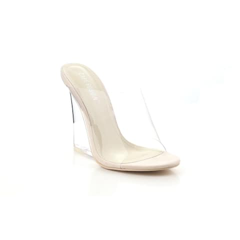 Cape Robbin Women's Lemonade Transparent Lucite Clear Wedge Heel Pvc Open Toe Slip On Mules - Nude