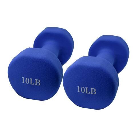 ALEKO Non-Slip 10 lbs Hexagonal Shaped Free Weight Dumbbells Blue Set of 2