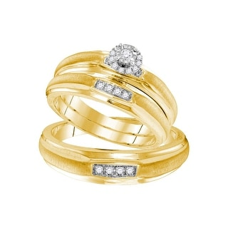 Sterling Silver Natural Diamond Yellow-tone His & Hers Matching Trio Wedding Engagement Ring Set 1/7 Ctw - White