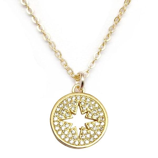 """Julieta Jewelry CZ Starburst Gold Charm 16"""" Necklace"""