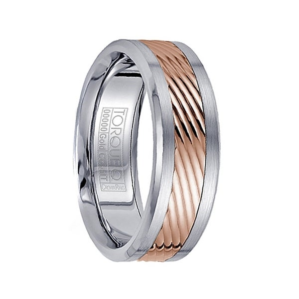 Brushed Grooved Cobalt Men's Wedding Band with 14k Rose Gold Inlay Polished Edges by Crown Ring - 7.5mm