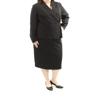 Womens Black Below The Knee Pencil Wear To Work Skirt Suit Size 18