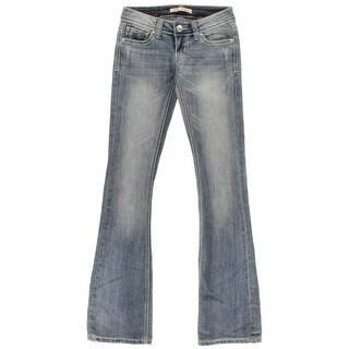 ZCO Jeans Womens Juniors Flare Jeans Denim Low Rise