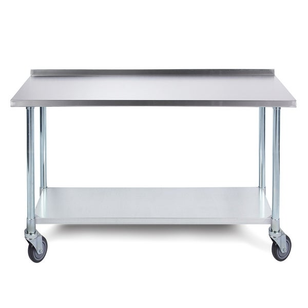 ARKSEN Heavy Duty Economy Stainless Steel Prep Table W/ Backsplash And  Caster Wheels, 72