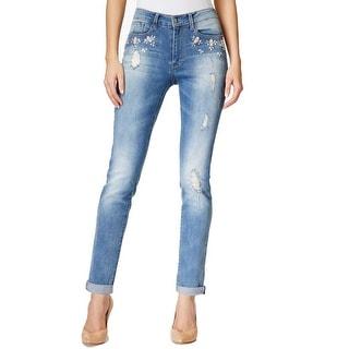 Nanette Lepore NEW Blue Women 6 Embellished Ripped Boyfriend Jeans