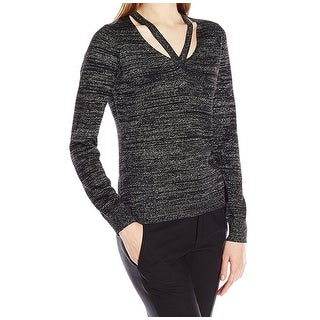 T Tahari NEW Gold Womens Size Large L Pullover Cut-Out Metallic Sweater