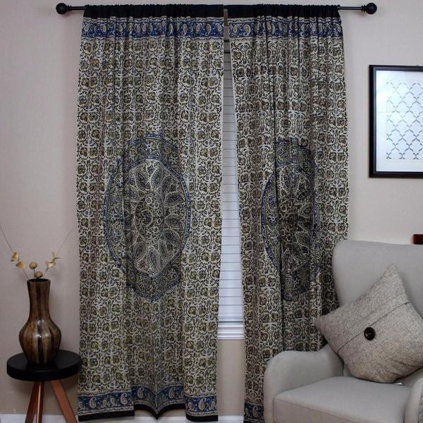 Shop Curtains for Living Room, Cotton Kalamkari Mandala Block Print ...