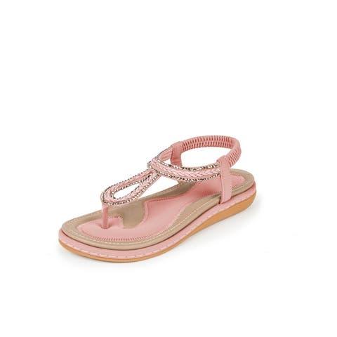 Haute Edition Women's Bohemian Beaded Elastic Slip on Comfort Sandals