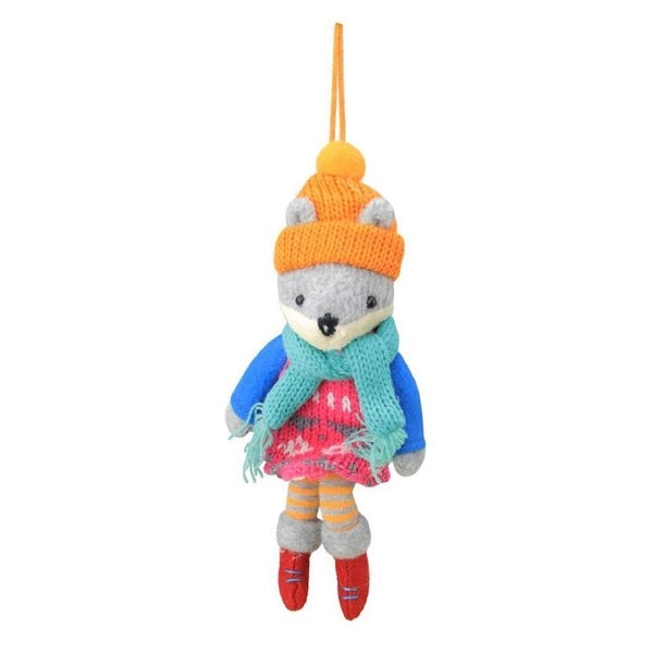 "7"" Bohemian Holiday Plush Wolf Girl with Dangling Legs Christmas Ornament"