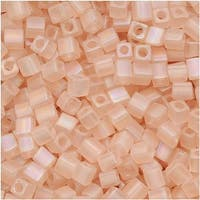 Miyuki 4mm Glass Cube Beads Transparent Matte Light Tea Rose AB 155FR 10 Grams