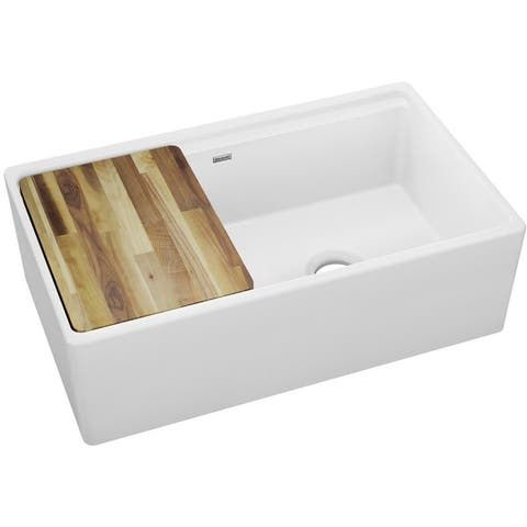 "Elkay SWUF3320 33"" Farmhouse Double Basin Fireclay Kitchen Sink with"