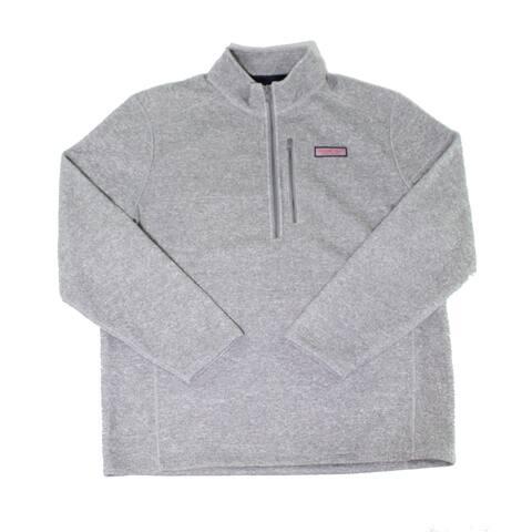 Vineyard Vines Mens Sweaters Gray Size XL 1/2 Zip Fleece Lined Logo