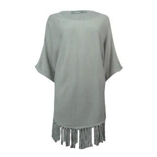 NY Collection Women's Dolman Sleeve Fringe Hem Sweater - Drizzle - m
