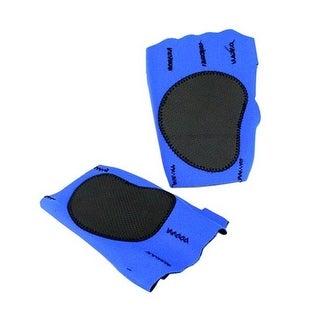 Perrini Blue Fingerless Sport Gloves with Cloth Tie Wrist