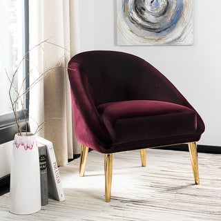 Link to Safavieh Couture Hopkins Giotto Cabernet Velvet Commercial Grade Club Chair Similar Items in Accent Chairs
