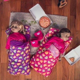 Set of Two 18 Inch Doll Sleeping Bags (Pink & Purple) Bedding Fits 18 Inch American Girl Dolls