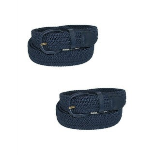 CTM® Men's Elastic Braided Belt with Covered Buckle (Pack of 2)