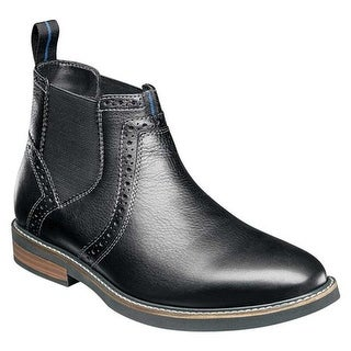Nunn Bush Men's Otis Plain Toe Chelsea Boot Black Tumble Leather