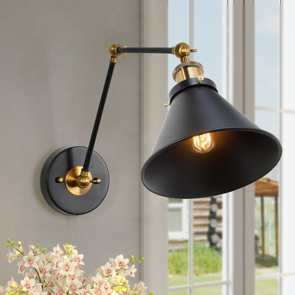 Modern 1-light Black Swing Arm Plug-in/ Hardwired Wall Sconce Lights. Opens flyout.