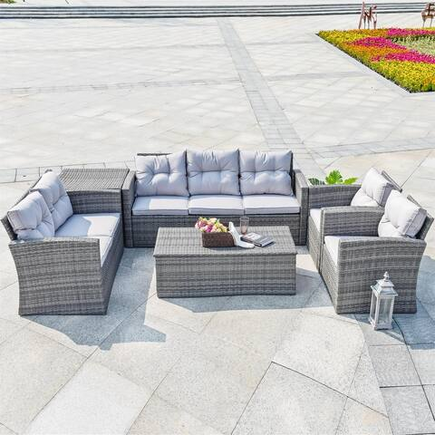 Martinka Grey and Brown 6-Piece Outdoor Sectional Sofa Set with Cushion by Direct Wicker
