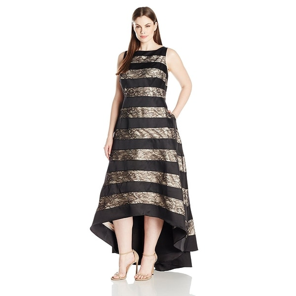 Shop Adrianna Papell Plus Size Sleeveless Striped Lace Mikado Hi Low ...