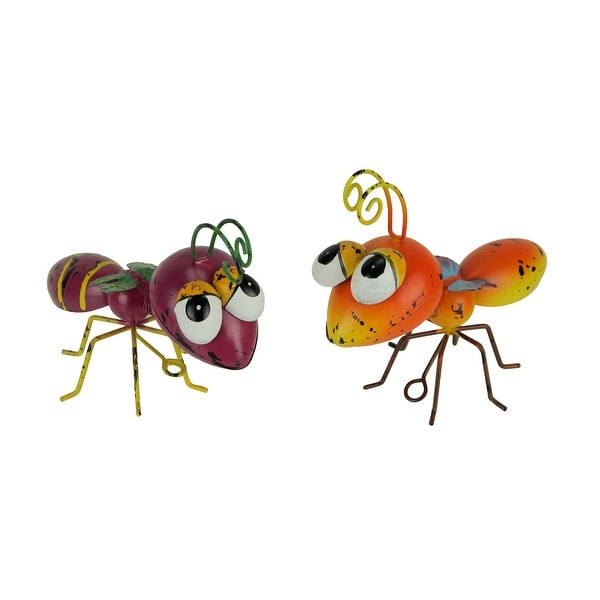 Orange and Purple Metal Art Big Head Wasp Sculpture or Wall Hanging Set of 2 - 4.5 X 7.5 X 3.25 inches