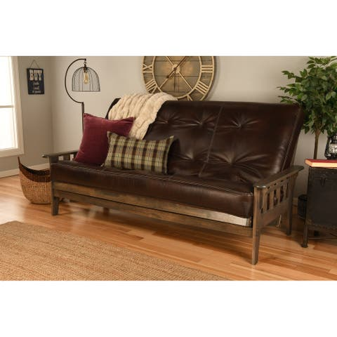 Somette Tucson Queen-size Futon Set in Rustic Walnut Finish with Mattress