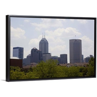 """""""Skyscrapers in a city, Chase Tower, Indianapolis, Marion County, Indiana"""" Black Float Frame Canvas Art"""