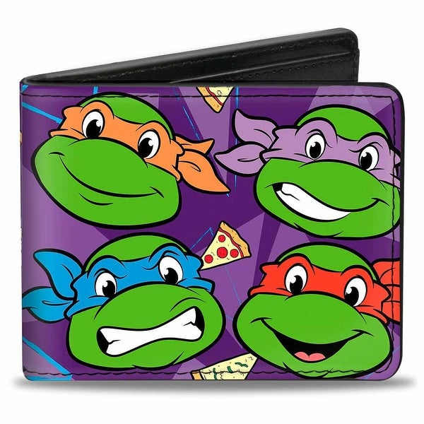"Classic Tmnt Faces + I ""Pizza Heart"" Tmnt Purple Pizza Bi Fold Wallet - One Size Fits most"