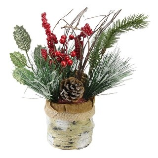 """12"""" Iced Pine Cones, Sprigs and Berries in a Burlap Basket Christmas Decoration"""