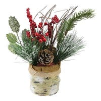 "12"" Iced Pine Cones, Sprigs and Berries in a Burlap Basket Christmas Decoration - green"
