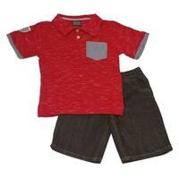 Quad Seven Boys Red Melange Polo T-Shirt Denim 2 Pc Shorts Outfit