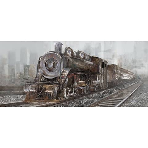 Monoprice RAILWAY CROSSING ARTIST ENHANCED MIXED MEDIA WALL ART 16inX40in