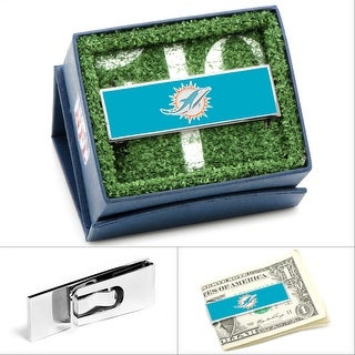 Stainless Steel and Enamel Miami Dolphins Money Clip - TEAL