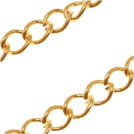 Bright 22K Gold Plated Curb Chain 5mm x 6mm 20 Gauge Bulk By The Foot