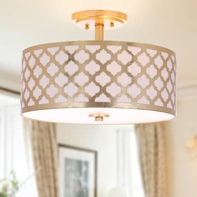 """SAFAVIEH Lighting Kora Quatrefoil Gold LED 3-light Flush Mount - 15"""" x 15"""" x 10.5"""""""