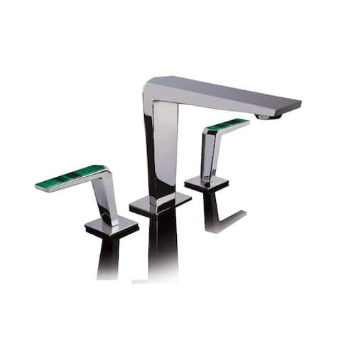 Altmans Limited Widespread Lavatory Set Malachite Polished Chrome